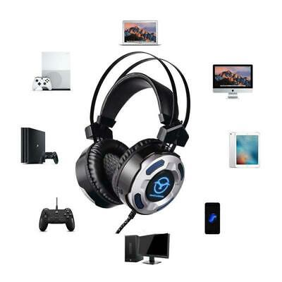 3.5mm Wired Gaming Headset Mic LED Stereo Surround Headphone For PC Laptop PS4 ^