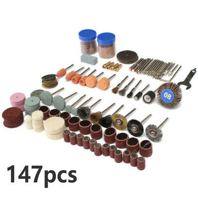 "147pcs 1/8"" Rotary Tool Accessory Bit Set Sanding Grinding Polishing Cutting Kit"