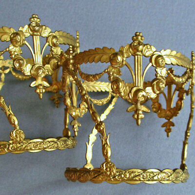 2 Antique FRENCH Doré GILT Brass Perfume BASKETS Wreaths of ROSES + Swags