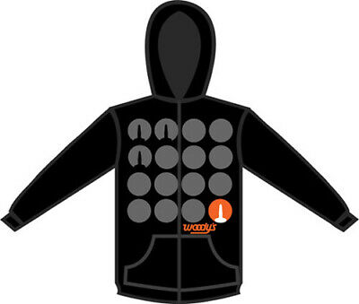 302-Hs-Standout-4 Woody's Stand Out Mens Zip Up Hoodie Black 2X-Large