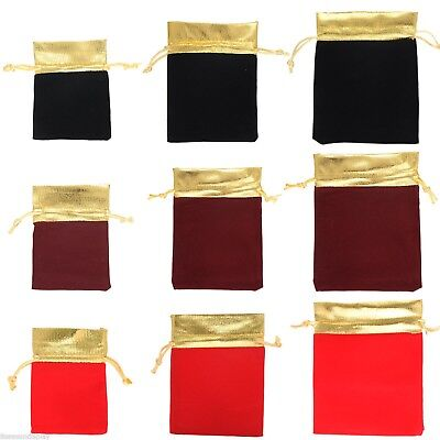 10/50 Gold Trim Velvet Bags Jewelry Wedding Party Favor Gift Drawstring Pouches
