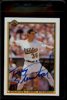 1990 Bowman #456 Terry Steinbach  Athletics On Card Autograph