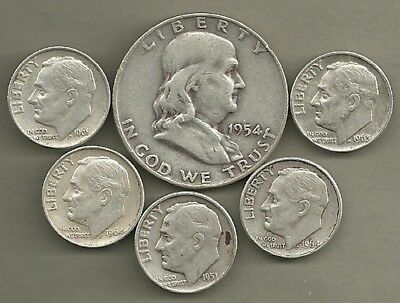 Franklin Half Dollar & Roosevelt Dimes- 90% Silver- US Coin Lot - 6 Coins #4131