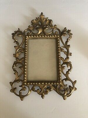 Victorian Picture Photograph FRAME Cast Iron Metal Gold Ornate Easel Back
