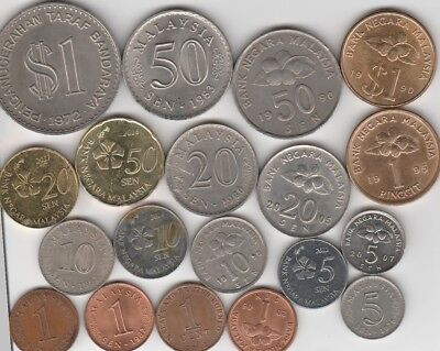 19 different world coins from MALAYSIA