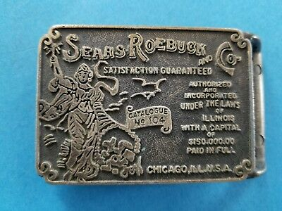 Vintage Sears Roebuck and Co Catalogue No 104 Belt Buckle Brass Advertising