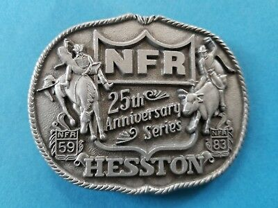 Vintage 1983 National Finals Rodeo 25th Anniversary Series Belt Buckle Hesston