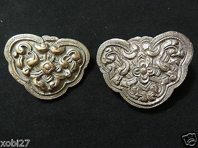 Antique Mongolian Hand Made Cast Brass  Saddle Ornaments 2 Piece