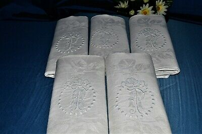 Beautiful Serie Of 5 Towels Antique Linen Embroidered P.c Damasse