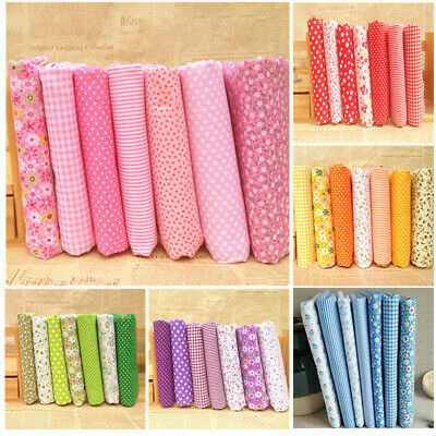 7pcs Diy Assorted Pre Charm Cut Fat Quarters Cotton Fabric Quilt Sewing Bundle