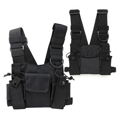 Walkie-talkie Chest-Harness Bag Front Pack Pouch Vest Rig For Portable-Radio