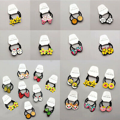 Kids Girl Cartoon Resin Elastic Rope Hair Band Ponytail Holder Hair Access Gift