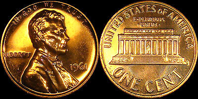 1961 GEM BU PROOF Lincoln Memorial BRILLIANT UNCIRCULATED PENNY US COIN PF