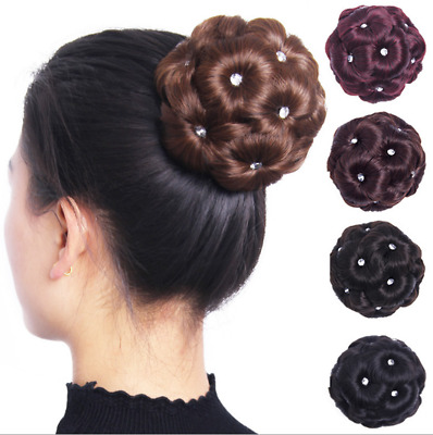 Women Curly Hair Bun Clip Comb In Hair Extension Chignon Hairpiece Wig New