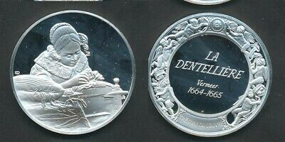 France: Louvre Collection- The Lacemaker, Johannes Vermeer 40g Silver Medal 45mm