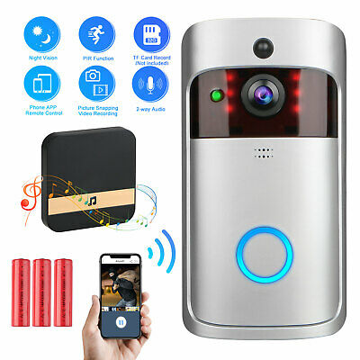 Wireless Smart WiFi DoorBell IR Video Visual Ring Camera with Dingdong + Battery