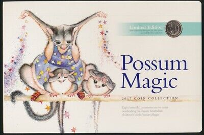 Australia 2017 3 x Coloured $2, 4 x $1 & Ltd Edition 1c Possum Magic Set