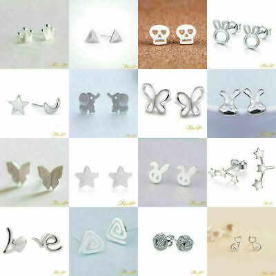 925 Sterling Silver Plt Ear Stud Earrings Butterfly Lady Girl Animal Flower