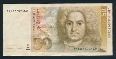 "Germany: Federal Republic 1-10-1993 50 Mark ""LAST DATE FOR TYPE"" P40c VF Cat $60"