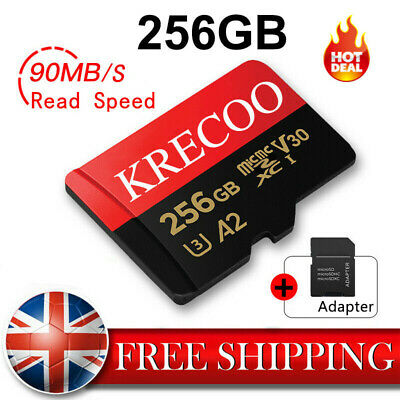 Memory Card 90MBS Micro SD SDHC 256GB Class 10 with Adapter for Phone/Tablet/PC