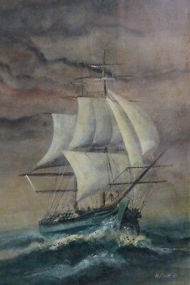 Painting acrylic the sailboat per tempête signed Kehr