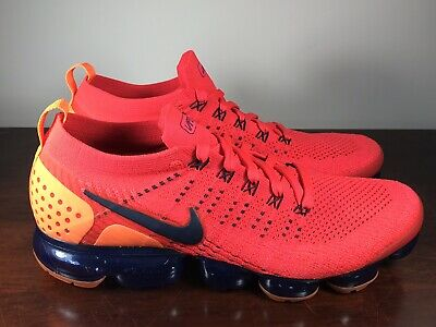 a67cc61d93f9 Nike Air VaporMax Flyknit 2 Red Orbit Obsidian Total Orange AR5406 600 Size  14