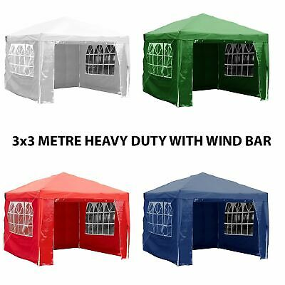 3x3m Sides Marquee Gazebo Tent Garden Party Waterproof Canopy Shelter Windbar
