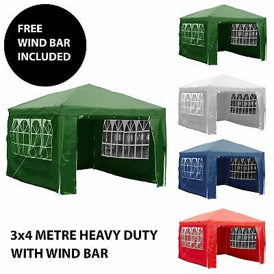 3x4m Sides Marquee Gazebo Tent Garden Party Waterproof Canopy Shelter Windbar