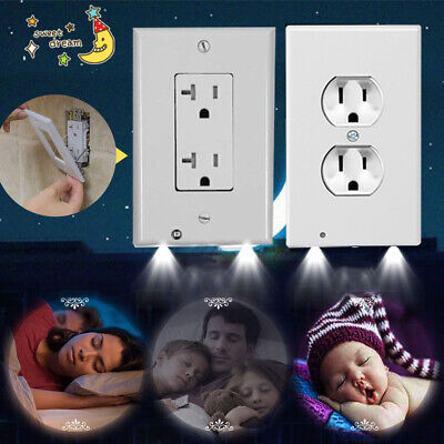 Night Angel Lights LED Outlet Wall Plate Cover Built in Sensor Duplex Plug Lot
