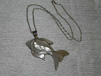 Estate 925 Marked Silver Chain with Large Mother of Pearl Inlaid Ocean Fish Pend