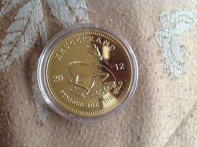 gold plated South Africa kuggerand 2012 crown coin