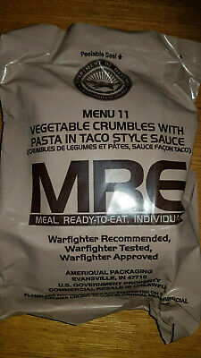US MRE Menü 11 Vegetable Crumbles with Pasta in Taco Style Sauce