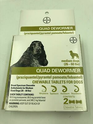 Bayer Quad Dewormer Tablets for Medium Dogs 2ct 26-60 Lbs Chewable EXP 02/2021+