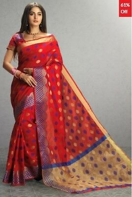 Red Tussar Silk Woven Saree with Red Blouse Piece ADM-SR-GLH-5006