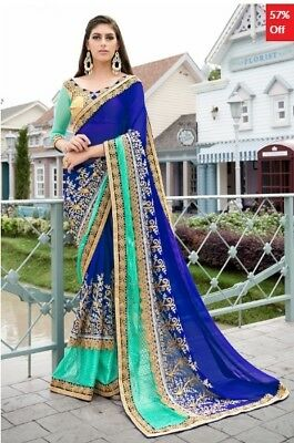 Multi Colour Georgette Embroidered Saree with Blouse Piece TR-SR-KP10-TSN87083