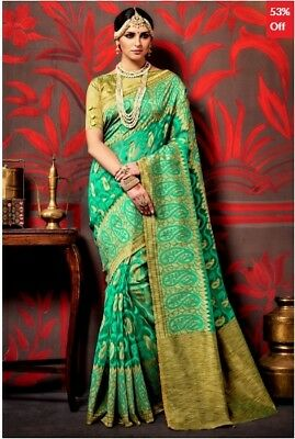 Green and Beige Tussar Silk Woven Saree with Blouse Piece JD-SR-KS15-15006