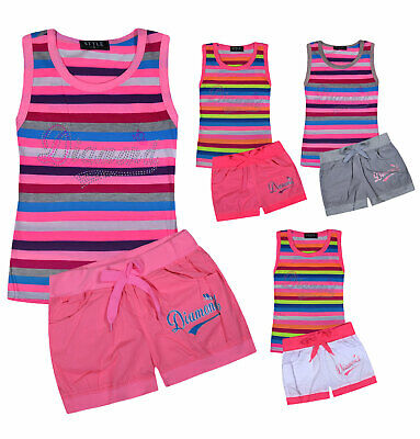 Girls Summer Set Kids Vest Top And Shorts Outfit Age 2 3 4 5 6 7 8 9 10 11 12 Yr