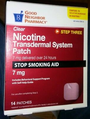 Rugby Clear Step 3 Nicotine Patch 7mg - 14 patches - Exp 4/19