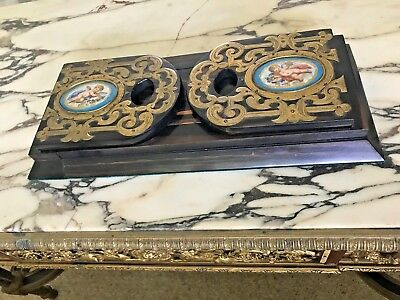 French 19th CentLibrary Book Slide Macassar Ebony Bronze Porcelain SUBMIT BEST!!
