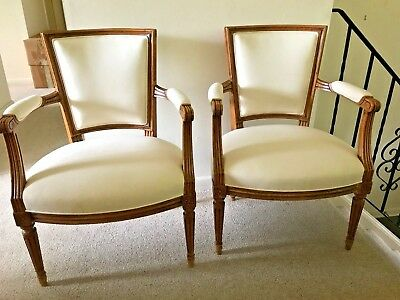 Arm Chairs Louis XVI Style 19 Cent FRUITWOOD NEWLY UPHOLSTERED EXQUISITE!!!