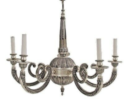 George III Chandelier 19th Century NICKEL & BRONZE REWIRED 5 LIGHT MUSEUM PIECE