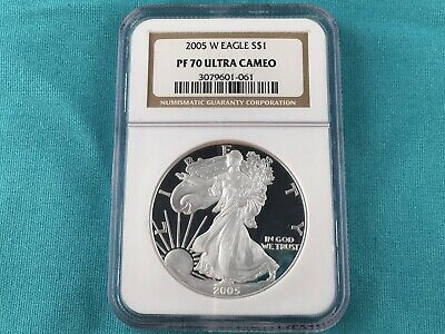 1 oz Silver US Mint 2005 W American Eagle Proof Coin PR70 NGC