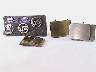 3-Vintage Brass Military Belt Buckles and Insignia~DOMAR