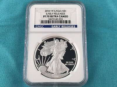 1 oz Silver US Mint 2010 W American Eagle Proof Coin PR70 NGC Early Release