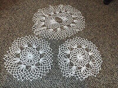 Vtg Lot of 3 Crochet Doily Crocheted Doilies