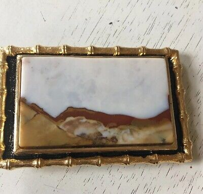 Belt Buckle Rectangle Bamboo Gold Black Vintage Stone Western Agate Brown