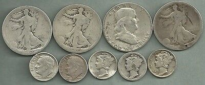 $2.50 Face Value Mixed CULLS - 90% Silver - US Coin Lot - 9 Coins #3183