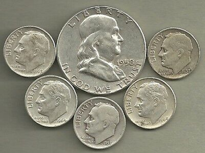 Franklin Half Dollar & Roosevelt Dimes- 90% Silver- US Coin Lot - 6 Coins #3890