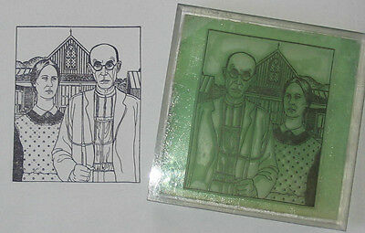 American Gothic by Grant Wood large UM rubber stamp