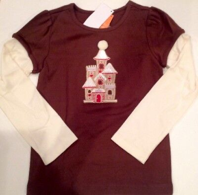 GYMBOREE WINTER CHEER BROWN GINGERBREAD CASTLE L//S TEE 4 5 6 7 8 10 12 NWT